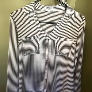 Express black and white stripped blouse